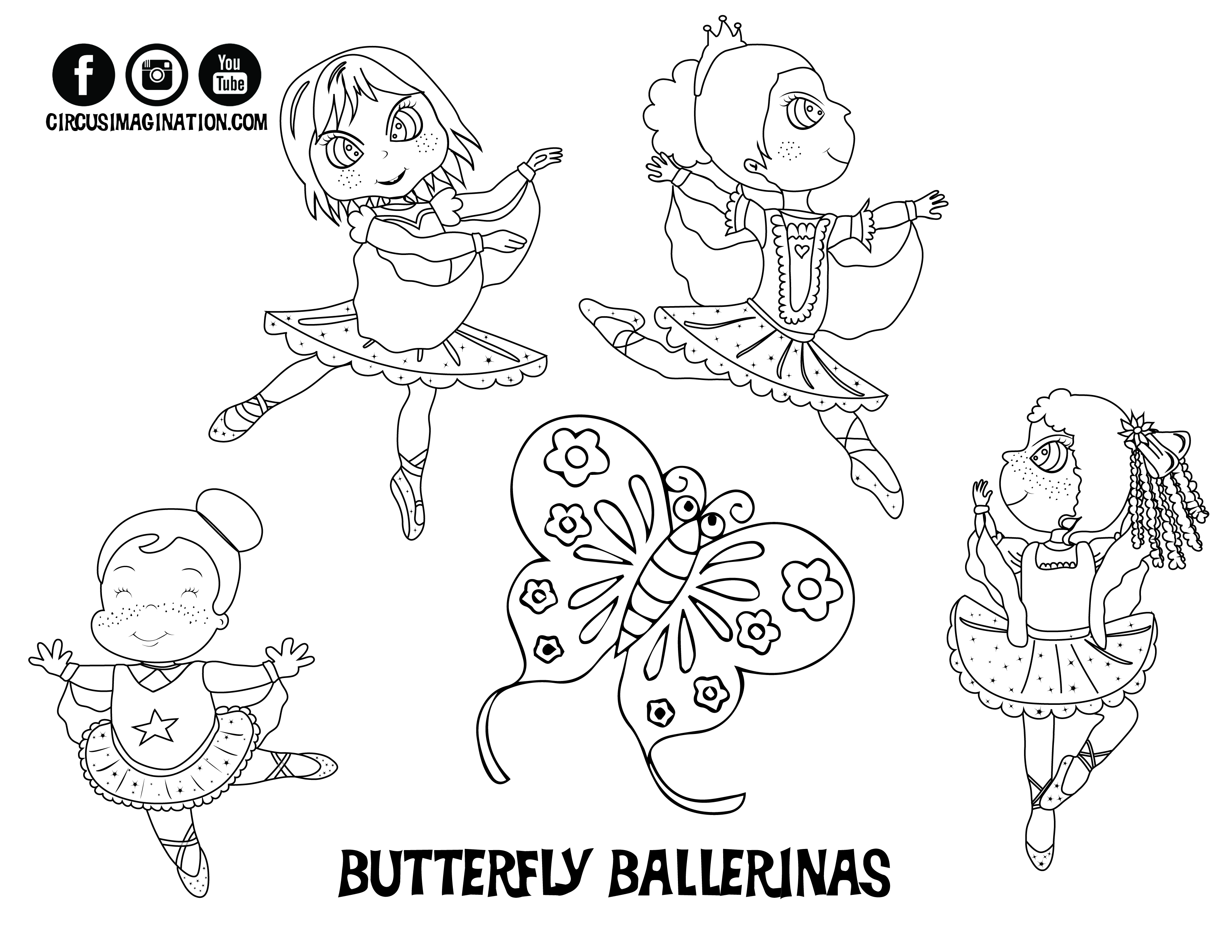 Coloring Page BUTTERFLY BALLERINAS Jpeg